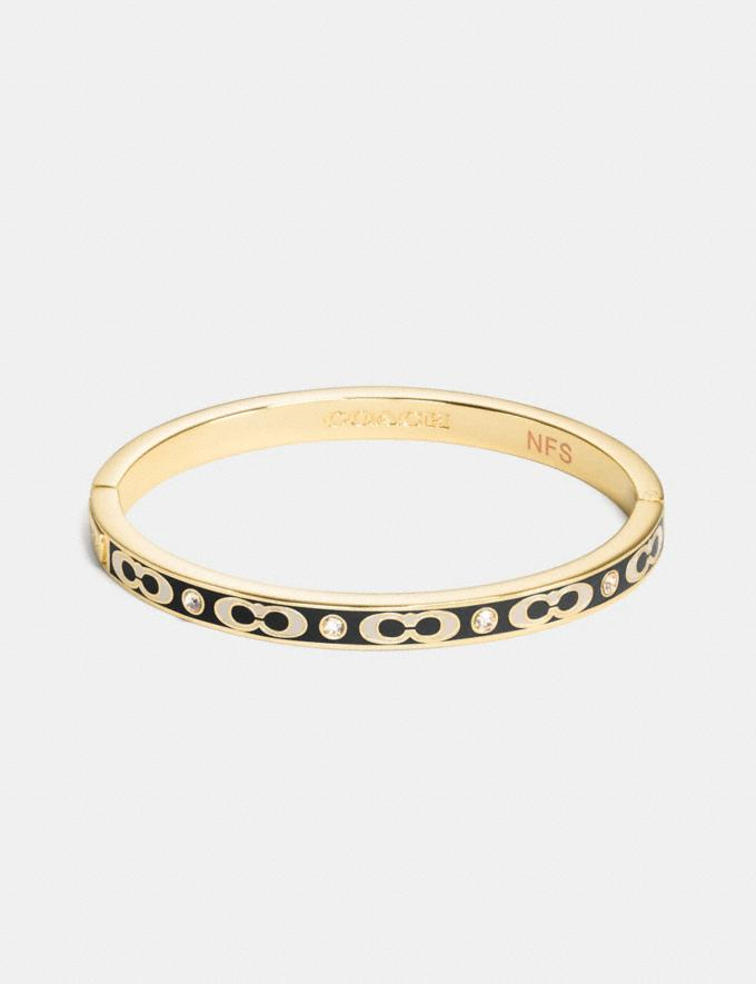 Coach Signature Stone Hinged Bangle Gold/Black Gifts For Her