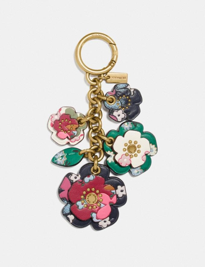 Coach Tea Rose Mix Bag Charm With Multi Floral Print B4/Multi