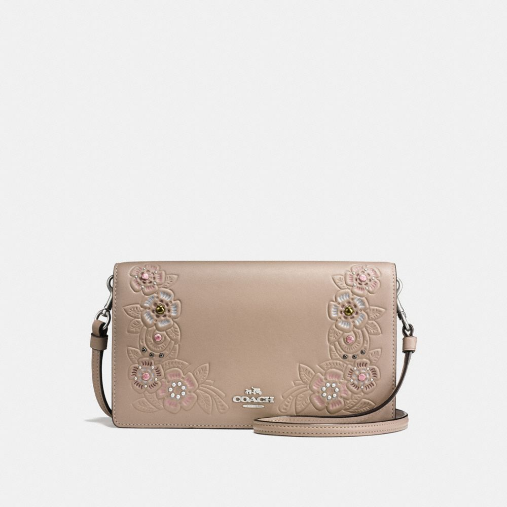 FOLDOVER CROSSBODY CLUTCH WITH PAINTED TEA ROSE TOOLING