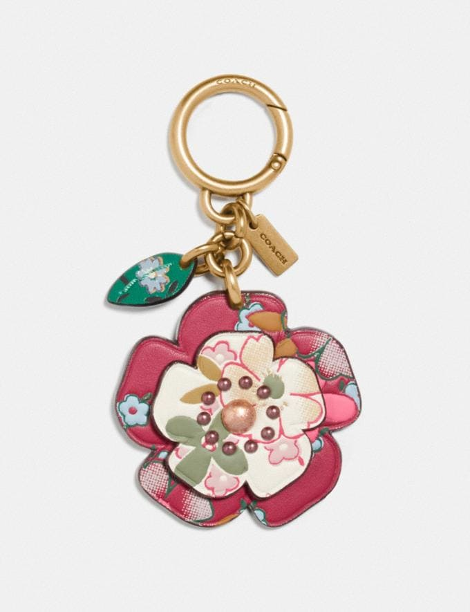 Coach Tea Rose Bag Charm With Multi Floral Print B4/Chalk/Dark Pink Multi