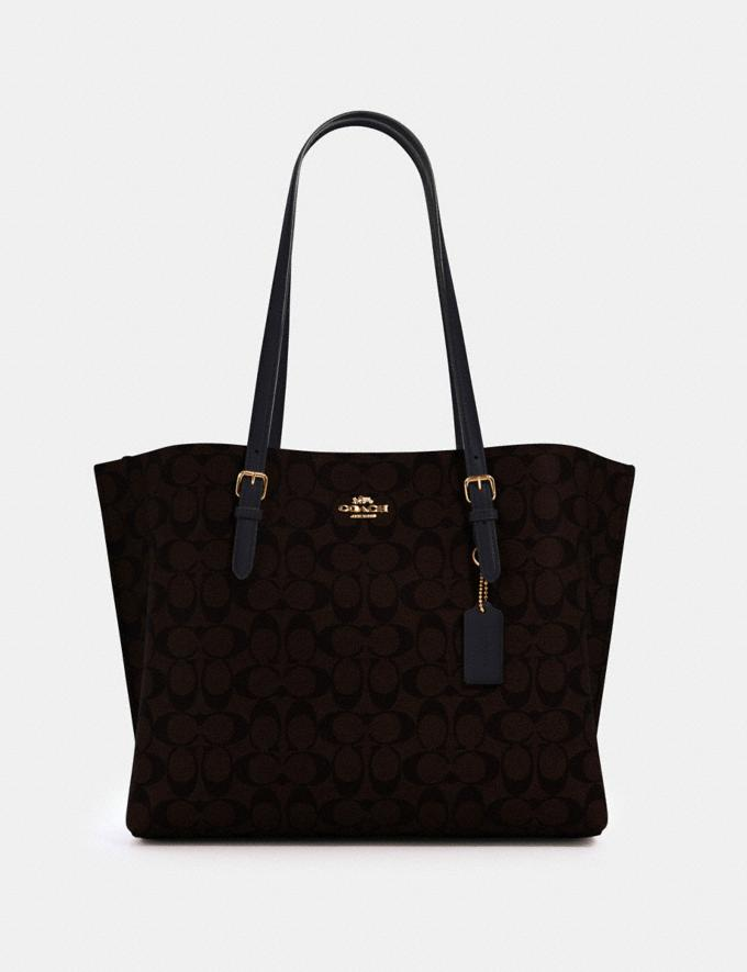 Coach Mollie Tote in Signature Canvas Im/Brown Black Bags Bags