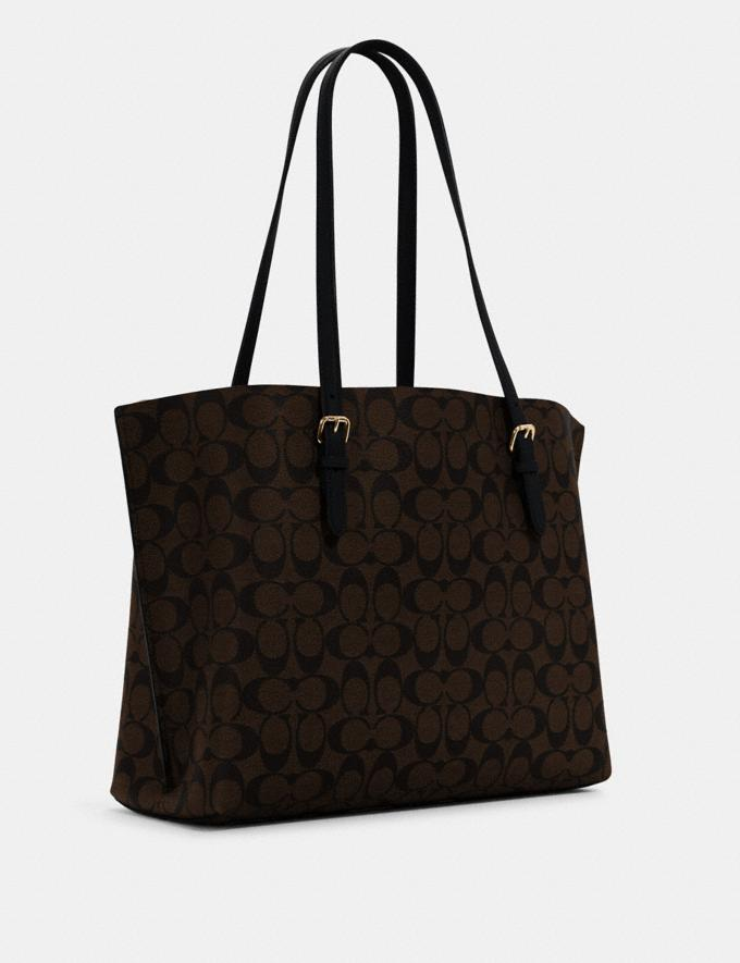 Coach Mollie Tote in Signature Canvas Im/Brown Black Bags Bags Alternate View 1