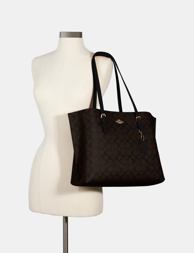 Coach Mollie Tote in Signature Canvas Im/Brown Black Bags Bags Alternate View 3