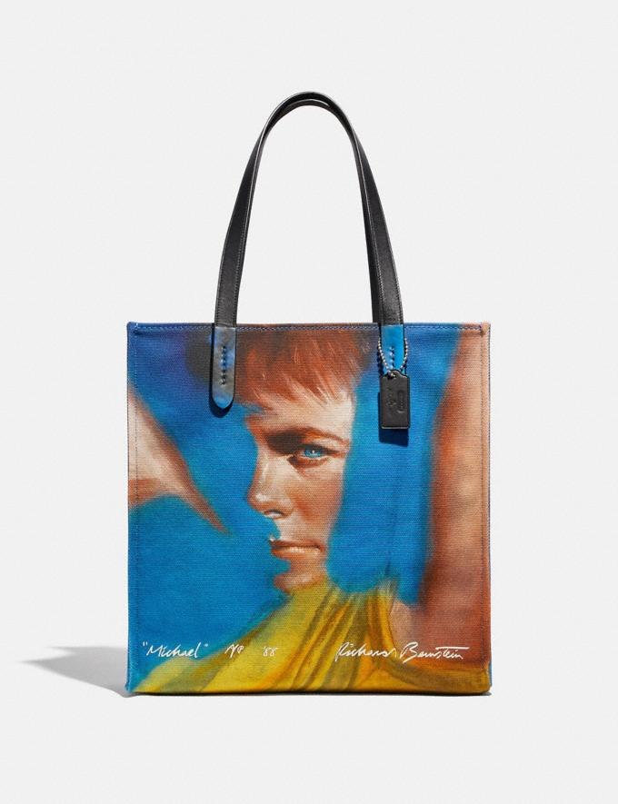 Coach Coach X Richard Bernstein Tote With Michael J. Fox Light Antique Nickel/Blue Multi Women Handbags Totes & Carryalls