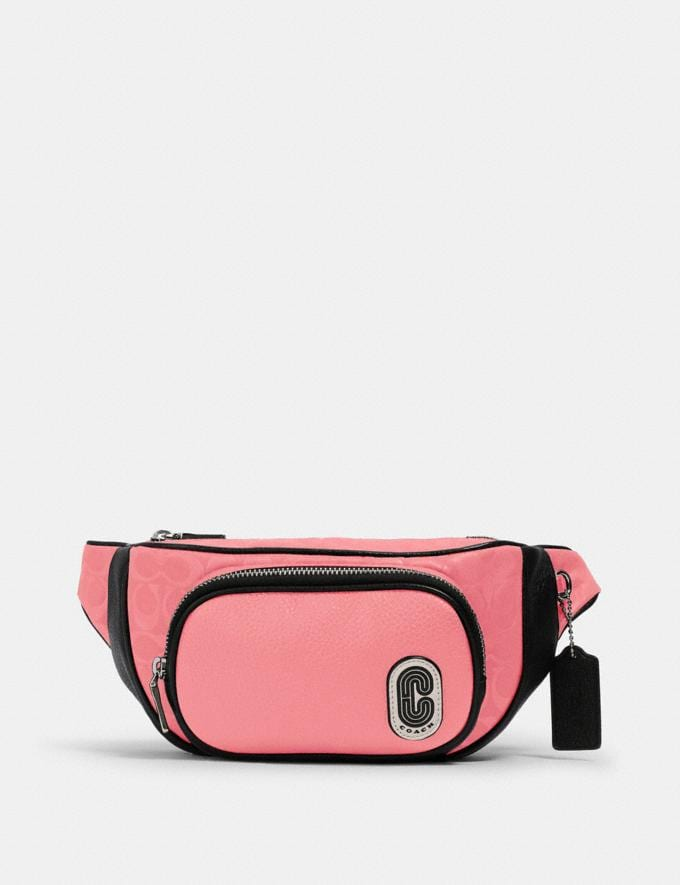 Coach Court Belt Bag in Signature Nylon Sv/Pink Lemonade