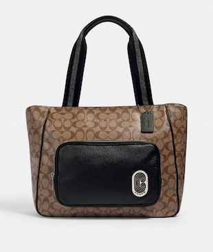 COURT TOTE IN SIGNATURE CANVAS WITH COACH PATCH
