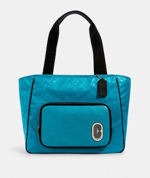 COURT TOTE IN SIGNATURE NYLON WITH COACH PATCH