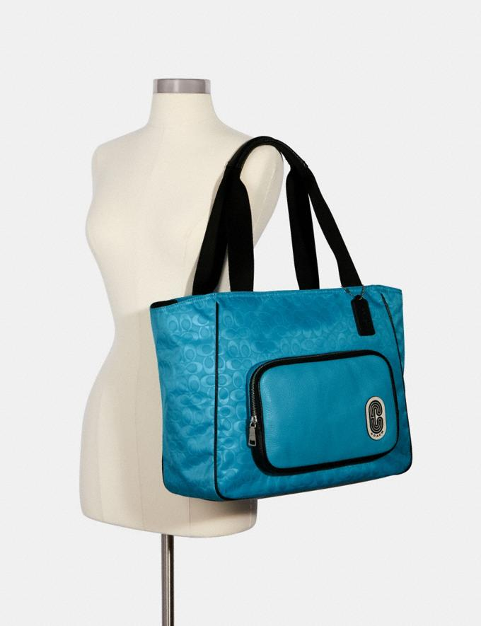Coach Court Tote in Signature Nylon With Coach Patch Sv/Aqua  Alternate View 2