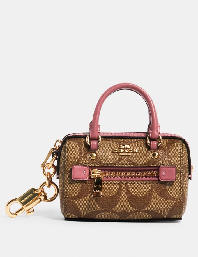 Coach Mini Rowan Satchel Bag Charm in Signature Canvas Im/Lt Khaki/ Rose