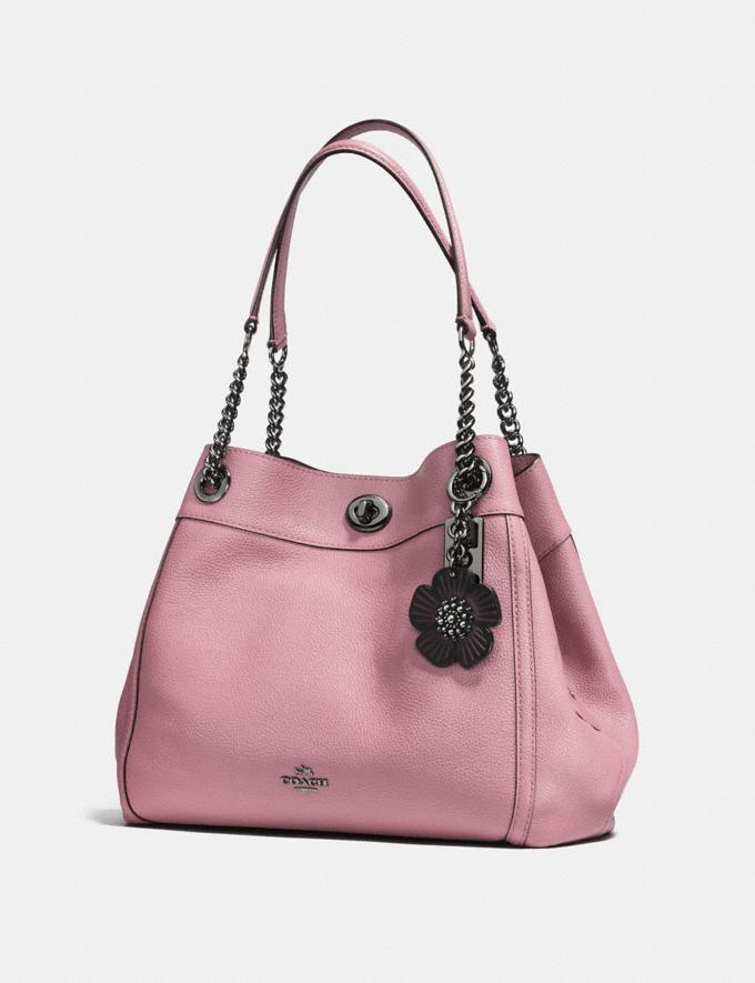 Coach Tea Rose Bag Charm Black/Black Women Accessories Bag Accessories & Keyholders Alternate View 1