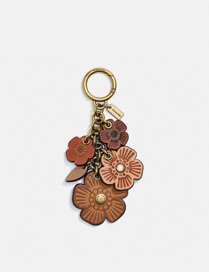 Coach Tea Rose Mix Bag Charm Brass/Saddle Multi Gifts For Her Under $100