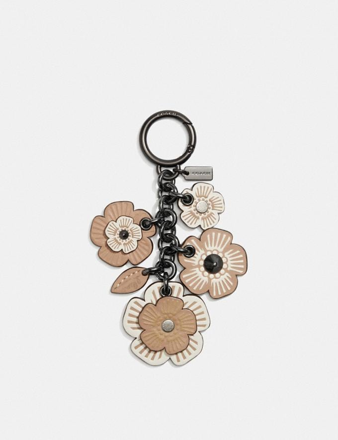 Coach Tea Rose Mix Bag Charm Chalk/Black Women Accessories