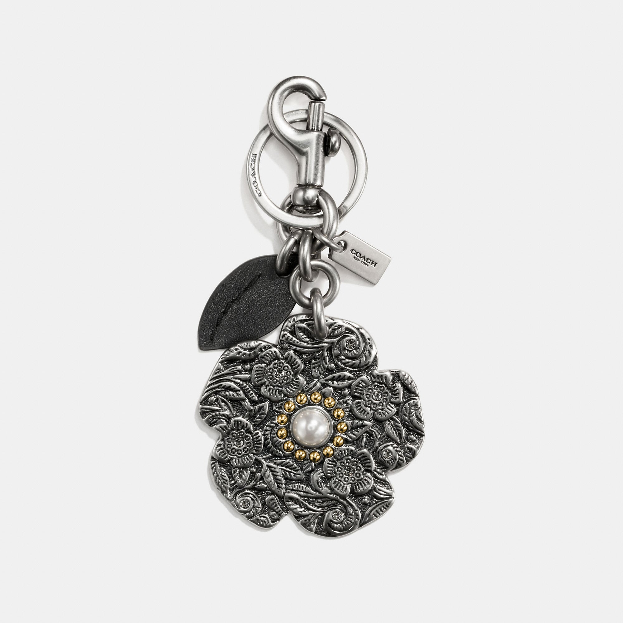 Coach Tooled Willow Floral Bag Charm