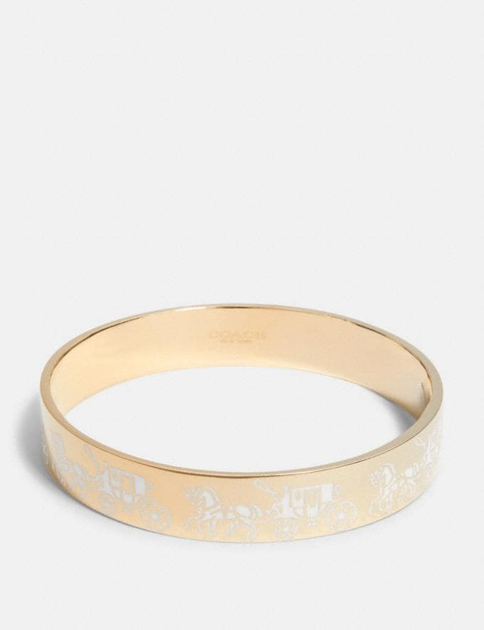 Coach Horse and Carriage Bangle Gd/Chalk