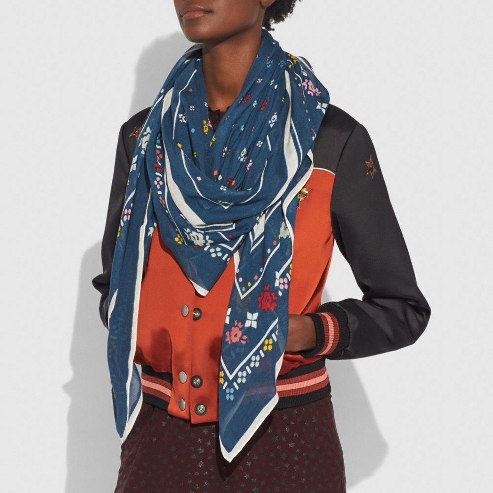 Coach Coach Floral Bandana Oversized Square Alternate View 1