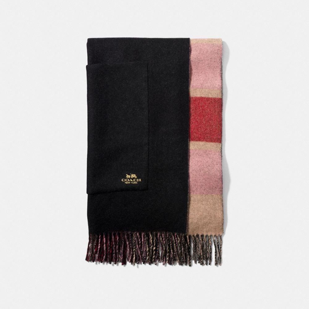Coach Oversized Reversible Plaid Cashmere Muffler