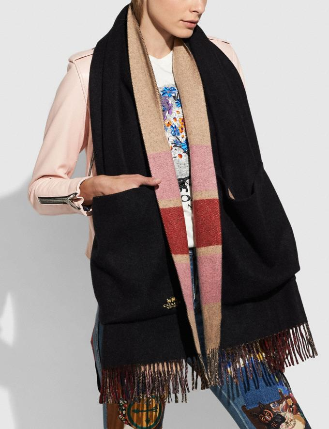 Coach Reversible Plaid Print Cashmere Oversized Muffler Multi/Black Women Edits Cold Weather Edit Alternate View 1
