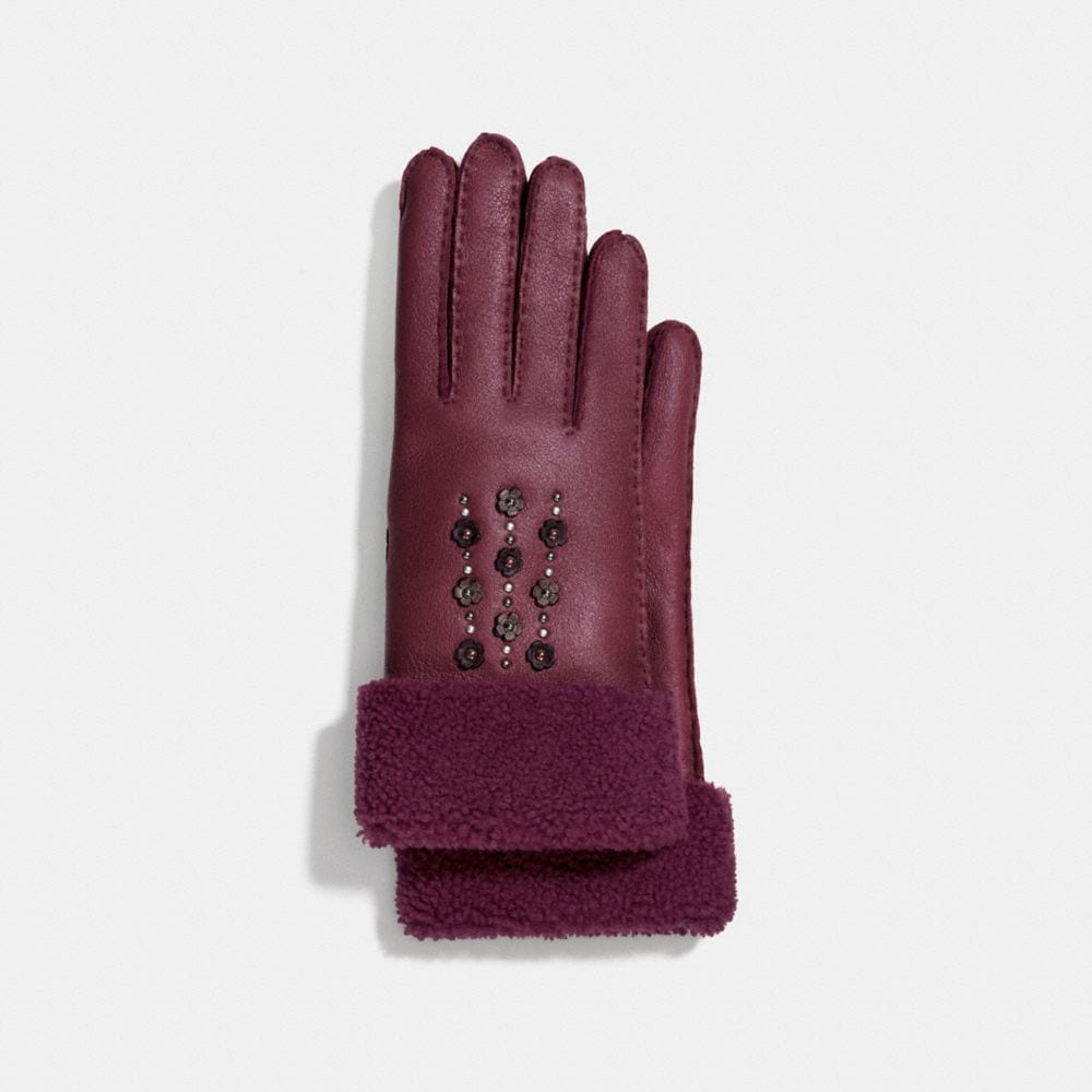 Coach Tea Rose Embellished Gloves