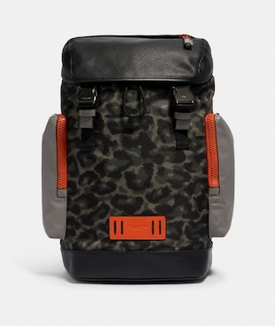 RANGER BACKPACK WITH ANIMAL CAMO SCRIPT PRINT