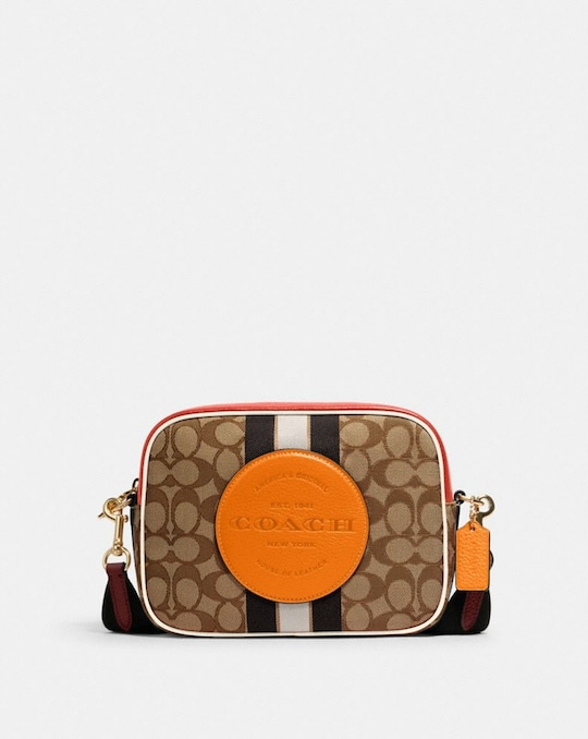 DEMPSEY CAMERA BAG IN SIGNATURE JACQUARD WITH STRIPE AND COACH PATCH