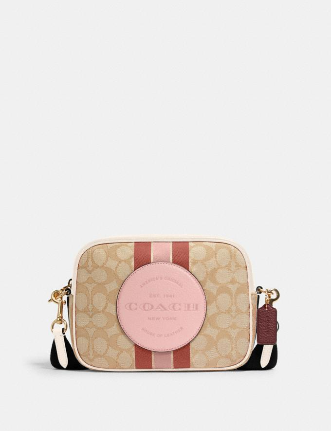 Coach Dempsey Camera Bag in Signature Jacquard With Stripe and Coach Patch Im/Lt Khaki/Powder Pink Multi DEFAULT_CATEGORY