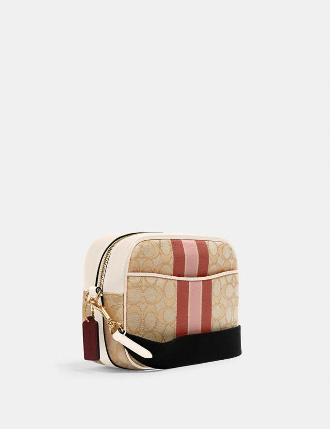 Coach Dempsey Camera Bag in Signature Jacquard With Stripe and Coach Patch Im/Lt Khaki/Powder Pink Multi DEFAULT_CATEGORY Alternate View 1