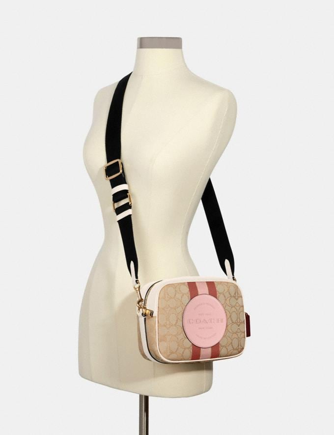 Coach Dempsey Camera Bag in Signature Jacquard With Stripe and Coach Patch Im/Lt Khaki/Powder Pink Multi DEFAULT_CATEGORY Alternate View 3