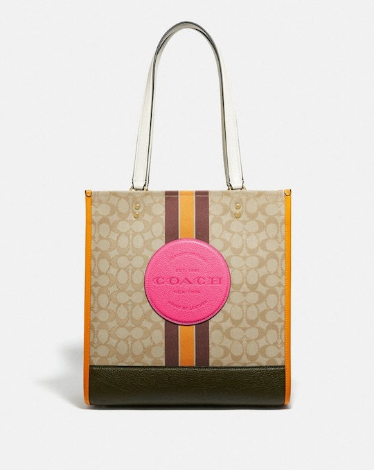 DEMPSEY TOTE IN SIGNATURE JACQUARD WITH STRIPE AND COACH PATCH