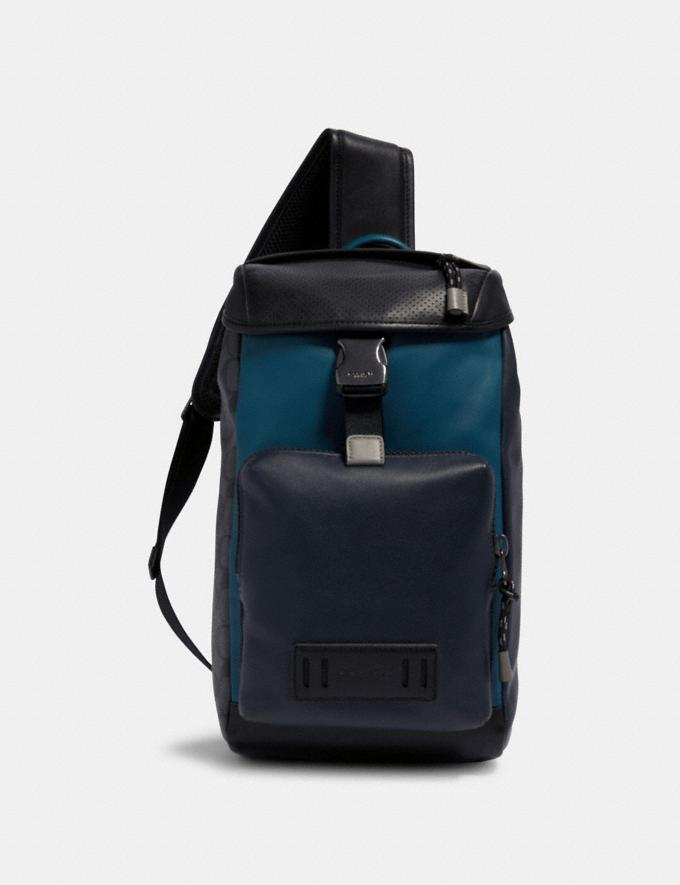 Coach Ranger Pack With Signature Canvas Pieced Patchwork Qb/Navy/Reef Blue Multi