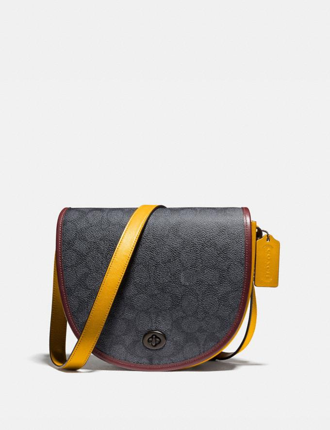 Coach Turnlock Saddle Crossbody in Signature Canvas Ji/Charcoal Multi Men Bags Messenger Bags