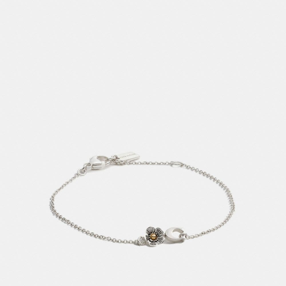 Coach Sterling Silver Signature C Willow Floral Bracelet