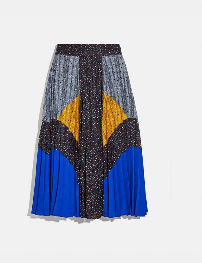 Coach Mix Pleated Skirt Black/Blue/Grey/Yellow New Women's New Arrivals Ready-to-Wear