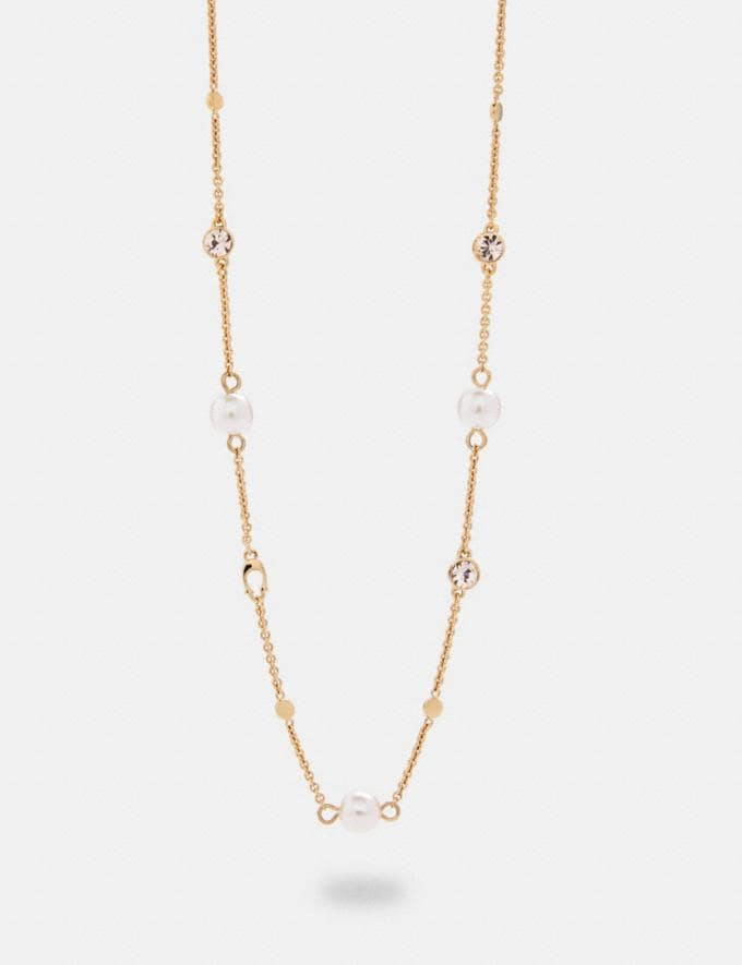 Coach Pearl Signature Necklace Gd/Pink