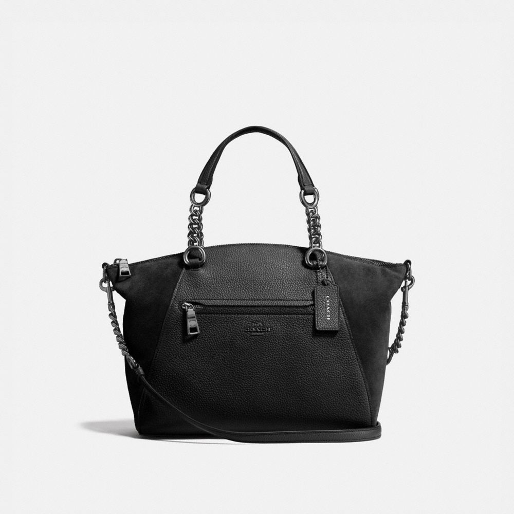 CHAIN PRAIRIE SATCHEL IN MIXED LEATHERS