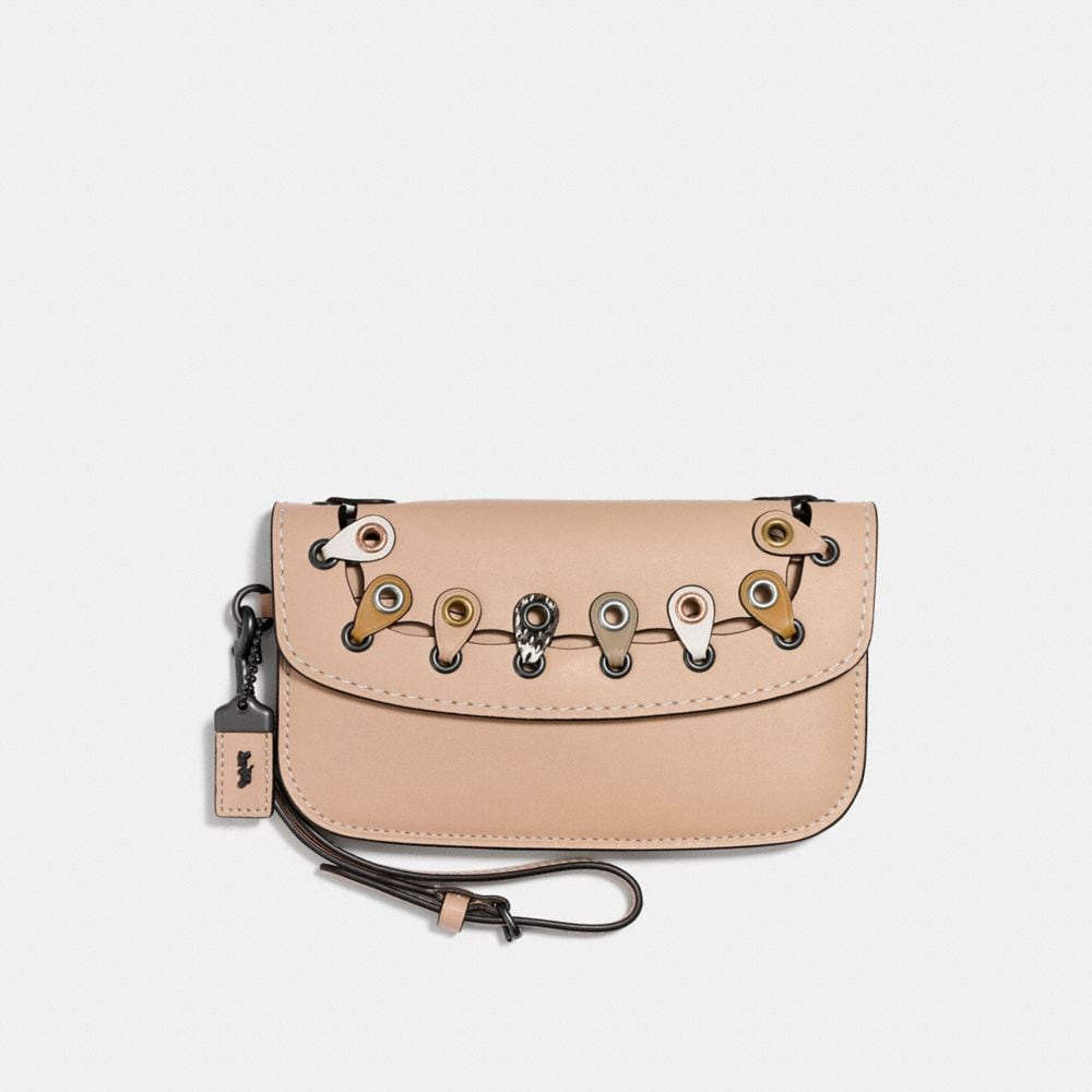 Coach Clutch With Snakeskin Coach Link Detail