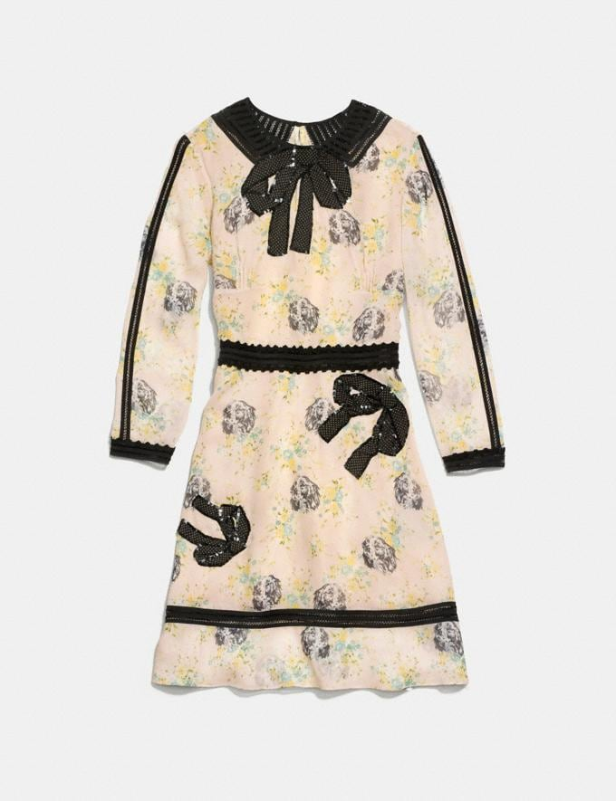 Coach Embroidered Prairie Dog Rose Dress Pale Pink Multi