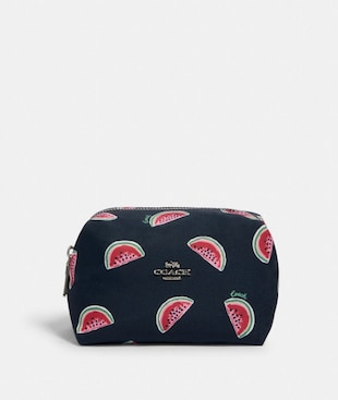 SMALL BOXY COSMETIC CASE WITH WATERMELON PRINT
