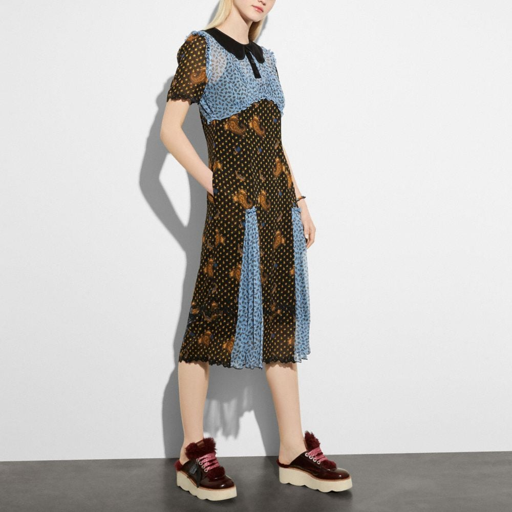 Coach Mixed Print Collar Dress
