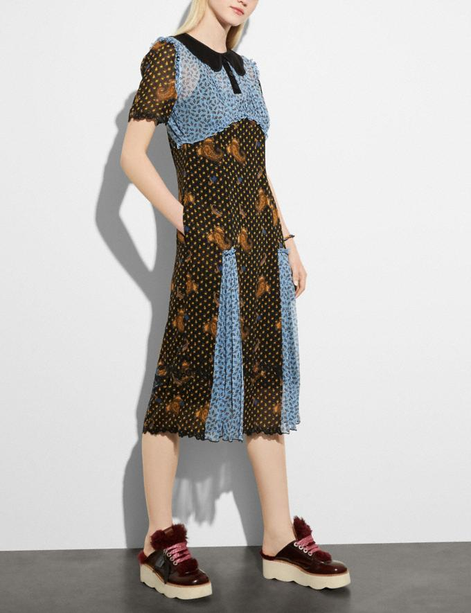 Coach Mixed Print Collar Dress Blue Multi