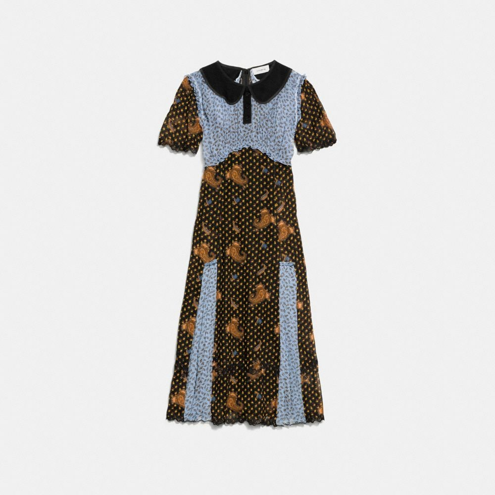 Coach Mixed Print Collar Dress Alternate View 1