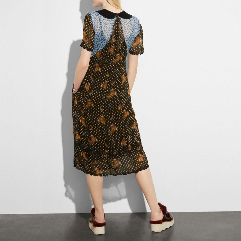 Coach Mixed Print Collar Dress Alternate View 2