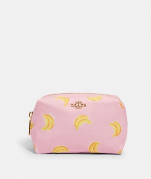 SMALL BOXY COSMETIC CASE WITH BANANA PRINT