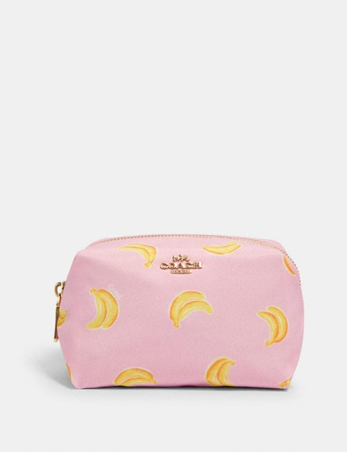Coach Small Boxy Cosmetic Case With Banana Print Im/Pink/Yellow
