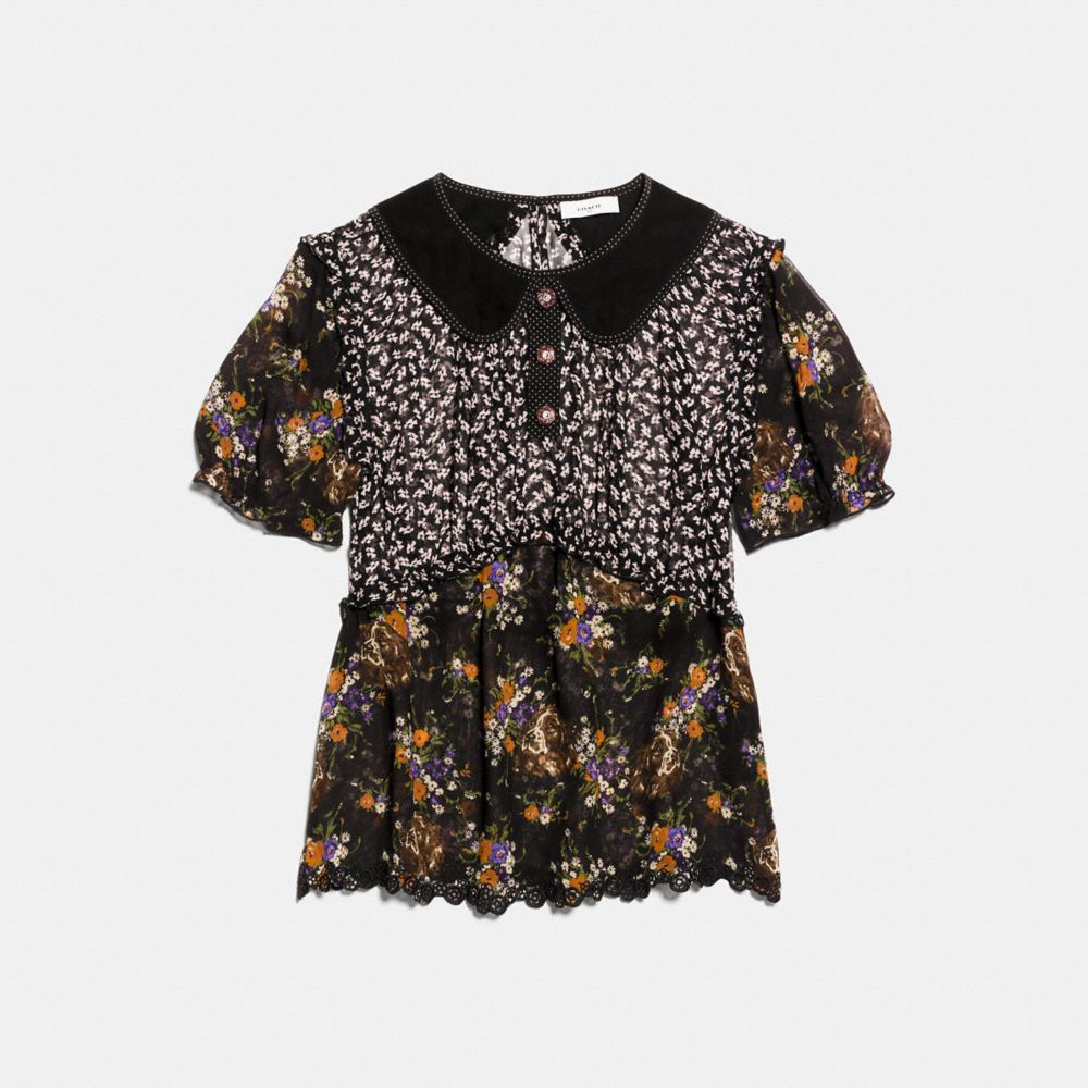 MIXED PRINT SHORT SLEEVE BLOUSE