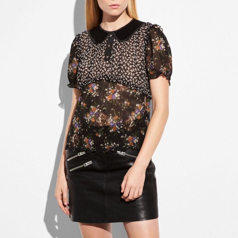 Coach Mixed Print Short Sleeve Blouse Alternate View 1