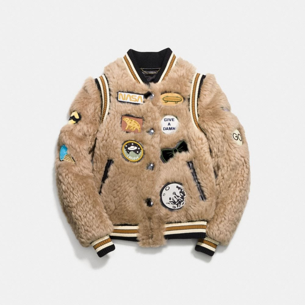 SHEARLING VARSITY JACKET WITH PATCHES