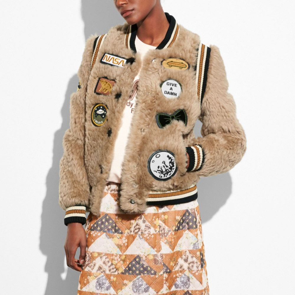 Coach Shearling Varsity Jacket With Patches Alternate View 1