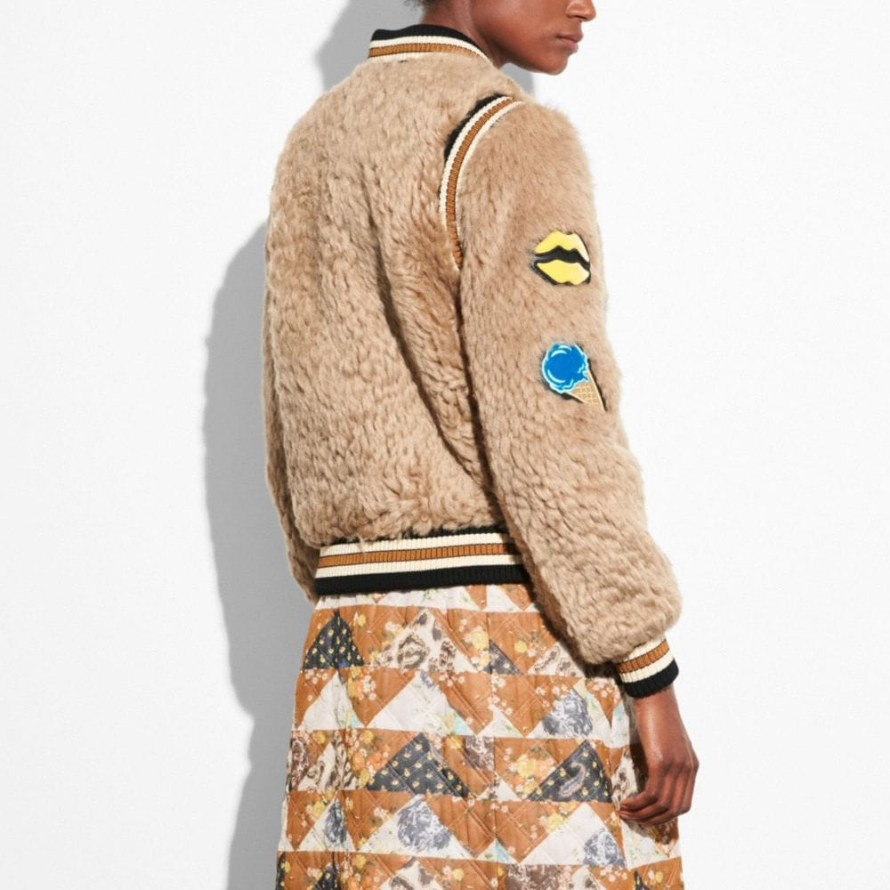 Coach Shearling Varsity Jacket With Patches Alternate View 2