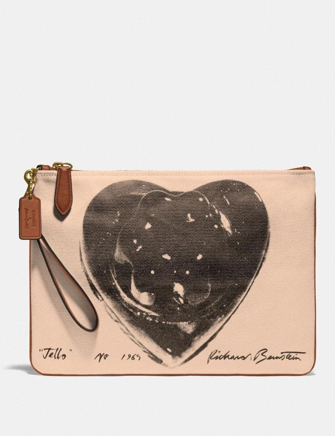 Coach Coach X Richard Bernstein Pouch 30 With Jello Heart Gm/Black Multi Women Small Leather Goods Wristlets
