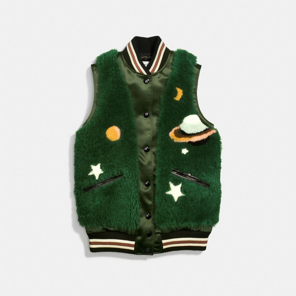 Coach Prairie Dog Shearling Varsity Vest Alternate View 1